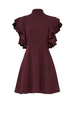 Plum Ruffle Dress by Cinq à Sept