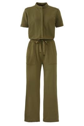 Green Terry Utility Jumpsuit by KINLY