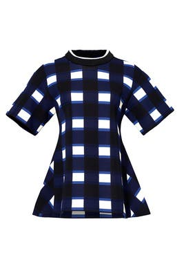 Blue Check Pleated Top by Marni