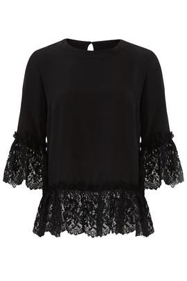 Black Lace Bell Sleeve Top by Nicole Miller