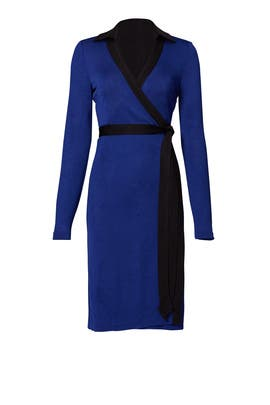 Navy and Black Wrap Dress by Diane von Furstenberg