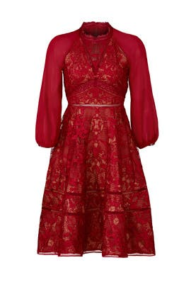 Wine Cuipare Dress by Marchesa Notte