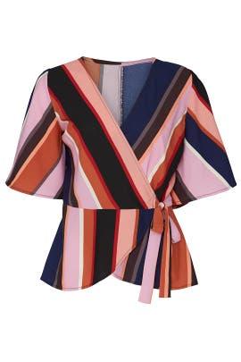 Multi Stripe Wrap Blouse by Louna
