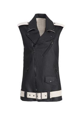 Contrast Moto Vest by Laveer
