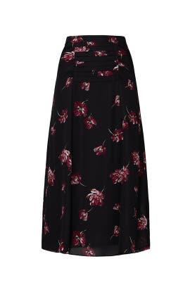 Black Floral Tuck Skirt by Nicholas