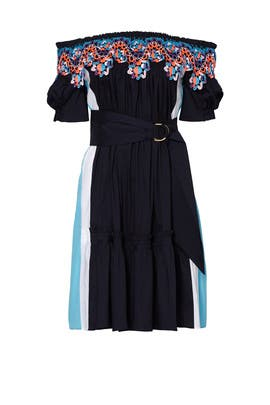 Navy Off Shoulder Panelled Dress by Peter Pilotto