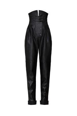 Black Faux Leather Pants by Maison Margiela