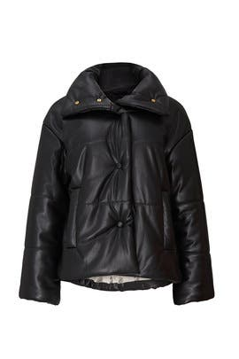 Faux Leather Puffer Jacket by Nanushka