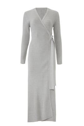 Long Rib Wrap Dress by Osman