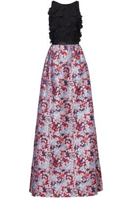 Multi Floral Jacquard Gown by ML Monique Lhuillier