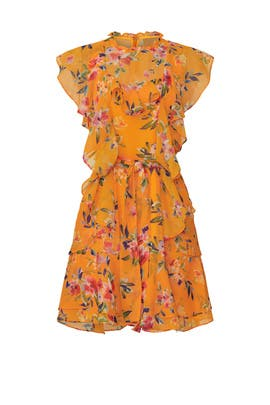 Orange Ruffle Floral Dress by Marissa Webb Collective