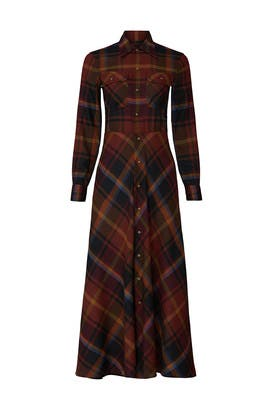 Long Plaid Shirt Dress by Polo Ralph Lauren