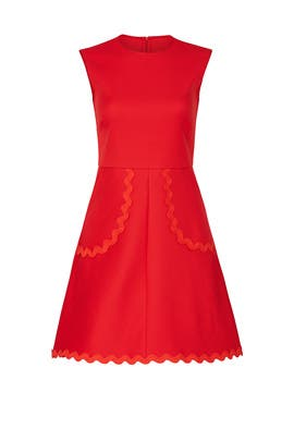 Red Scalloped Trim Dress by RED Valentino