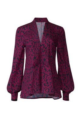 Plum Animal Print Blouse by Derek Lam Collective