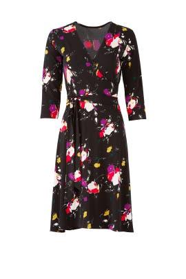 Dark Floral Wrap Dress by Leota
