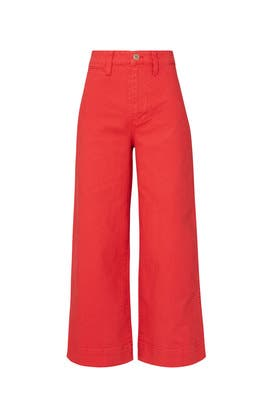 Americana Red Emmett Wide Leg Crop Pants by Madewell