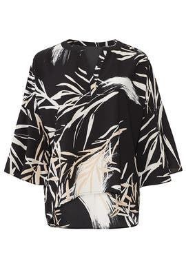 Black Leaf Print V-Neck Top by N Natori