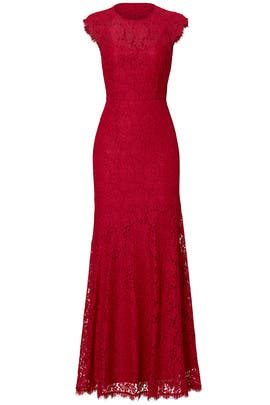 Red Rose Cap Sleeve Gown by Shoshanna