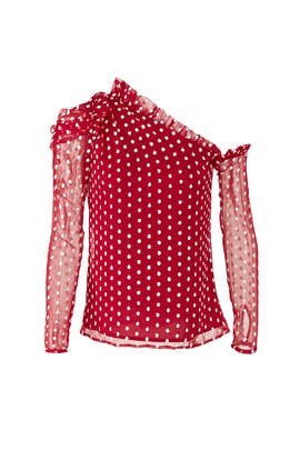 Red Polka Dot Top by ML Monique Lhuillier
