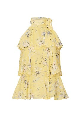 Yellow Floral Tiered Top by ML Monique Lhuillier