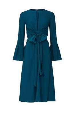 Teal Tie Waist Keyhole Dress by Tome