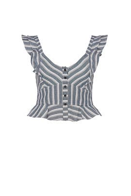 Blue Stripe Crop Top by Marissa Webb Collective
