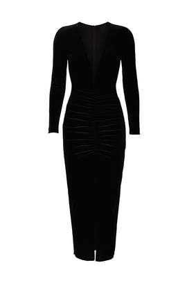 Black Velvet Deep V Dress by NISSA