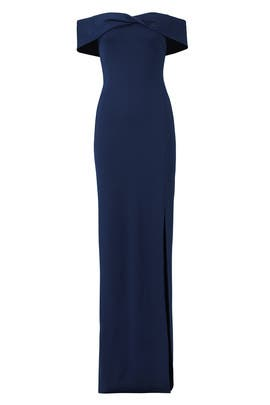 Navy Knot Front Gown by Nicholas