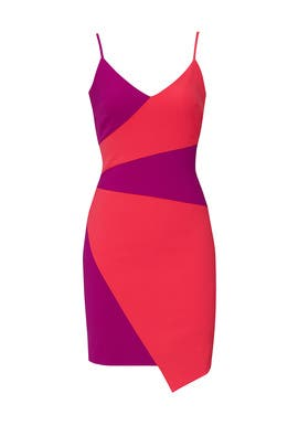 Colorblock Asymmetric Dress by Nicole Miller