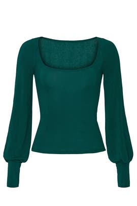 Green Isla Square Neck Top by Reformation
