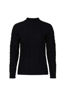 Black Cable Knit Sweater by VOX LUX