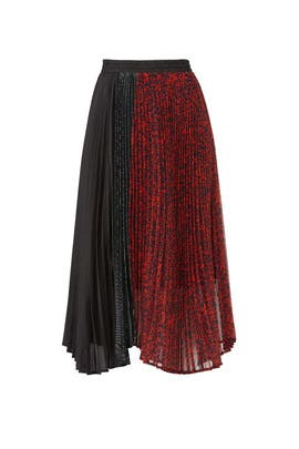 Paneled Asymmetric Pleated Skirt by Clu