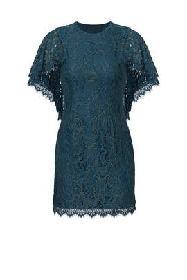 Teal Lace Cape Sheath by Dress The Population