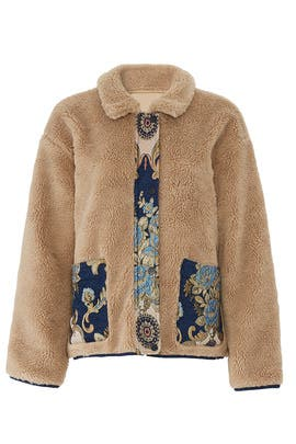 Contrast Faux Fur Bomber by Moon River