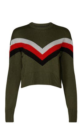 Olive Chevron Sweater by Marissa Webb Collective