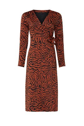 Brown Zebra Wrap Dress by Sweet Baby Jamie