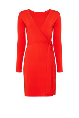 Red Knit Wrap Dress by Diane von Furstenberg