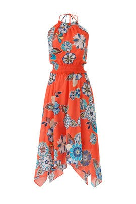 Floral Halter Hankerchief Dress by Josie