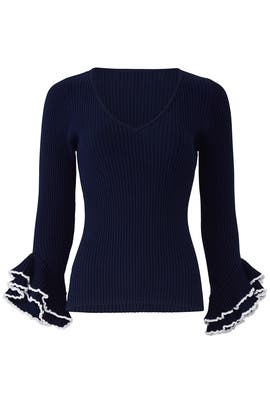 Contrast Ruffle Sleeve Sweater by Milly