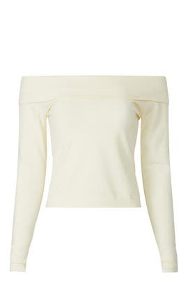Off the Shoulder Crop Sweater by Peter Som Collective