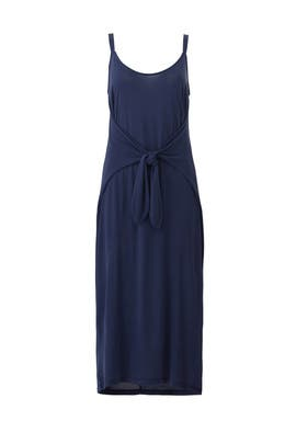 Navy Tie Front Midi Dress by Slate & Willow