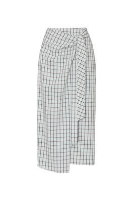 Elliot Check Wrap Skirt by Tibi