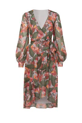 Multi Floral Wrap Dress by Badgley Mischka