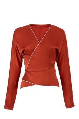 Rust Piping Wrap Top by Nicholas