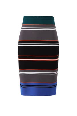 Knit Stripe Pencil Skirt by Nicole Miller