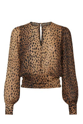 Leopard Keyhole Blouse by GOOD AMERICAN