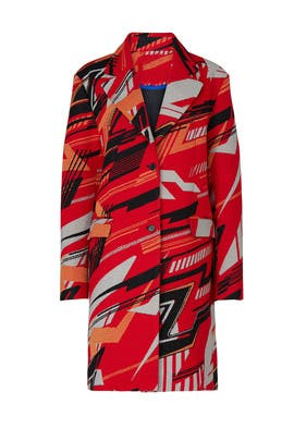 Red Abstract Printed Coat by Koché