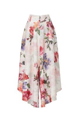 White Floral Wide Leg Pants by PatBO