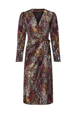 Snake Print Wrap Dress by Rebecca Taylor