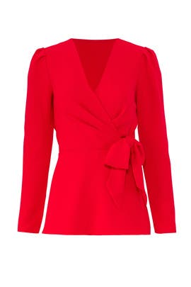 Red Tie Waist Top by Jay Godfrey